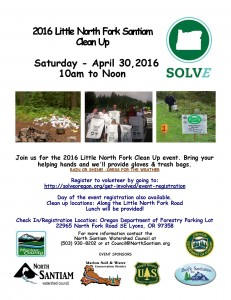 Final Little NF Santiam Clean Up Flyer 3-7-16