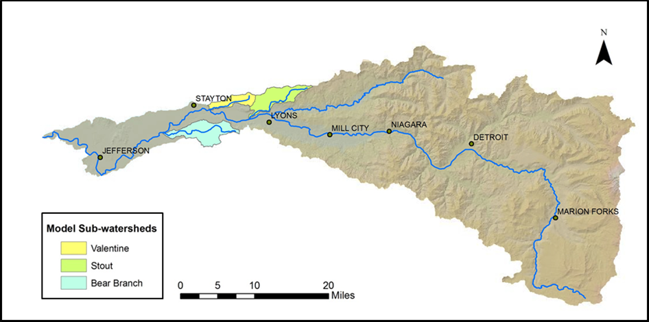 Stout Creek, Valentine Creek, and Bear Branch Creek have been the focus of the NSWC Model Watershed Project since 2009. Data sources:  United States Geological Survey, the Environmental Protection Agency, and the Oregon Watershed Enhancement Board